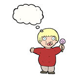 Cartoon fat child with thought bubble Stock Images