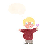 Cartoon fat child with thought bubble Royalty Free Stock Photo