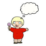 Cartoon fat child with thought bubble Stock Photo
