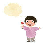 Cartoon fat child with thought bubble Stock Photos