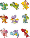 Cartoon fat fire dragon icon set Stock Images