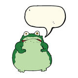 cartoon fat frog with speech bubble Stock Image