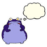 cartoon fat frog with thought bubble Royalty Free Stock Photography