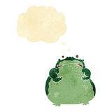cartoon fat frog with thought bubble Royalty Free Stock Image