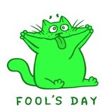 Cartoon cat makes crazy face and shows tongue. Vector Illustration. Cartoon fat green cat makes a crazy face and shows tongue. 1 April holiday. Fool`s day Royalty Free Stock Images