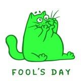 Cartoon fat green cat makes a crazy face. Vector Illustration. Cartoon fat green cat makes a crazy face. 1 April holiday. Fool`s day. Vector Illustration Royalty Free Stock Photography