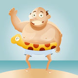 Cartoon Fat Man on Beach. A smiling, bald, fat cartoon man standing on a beach with an inflatable water toy Stock Photos