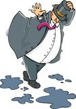 Cartoon of a fat man caught in the wind Royalty Free Stock Images