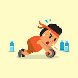 Cartoon fat man doing ab wheel rollout exercise Royalty Free Stock Images