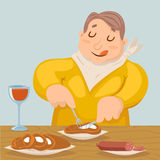 Cartoon Fat Man Eat Grilled Meat Sausage Character Icon on Stylish Background Design Vector Illustration Royalty Free Stock Photo