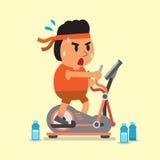 Cartoon fat man exercising on elliptical machine Royalty Free Stock Photo