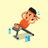 Cartoon fat man using sit up bench Royalty Free Stock Images