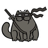 Cartoon fat ninja cat in a mask and a sword. Isolated vector illustration. Cartoon fat ninja cat in a mask and a sword. Funny cool warrior character. Isolated Stock Photos