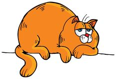 Cartoon of fat orange cat Stock Images