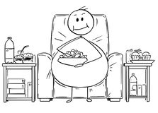 Cartoon of Fat or Overweight Man Sitting on Armchair, Watching Tv and Eating. Cartoon stick drawing illustration of fat or overweight man sitting on armchair stock illustration