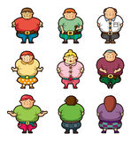 Cartoon Fat people icons Stock Photos