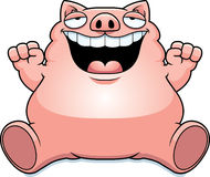 Cartoon Fat Pig Sitting Stock Image