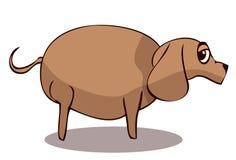Cartoon Fat Sad Dog, Vector Illustration. Royalty Free Stock Image