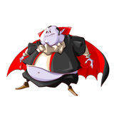 Cartoon fat vampire. Colorful vector illustration of a fat vampire with purple skin, black clothes and big belly Royalty Free Stock Photos