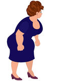 Cartoon fat woman in blue dress Royalty Free Stock Image