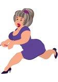 Cartoon fat woman with gray hair running Royalty Free Stock Photo
