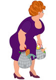Cartoon fat woman in purple dress with groceries bags Royalty Free Stock Image