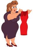 Cartoon fat woman in purple dress holding small red dress Royalty Free Stock Image