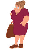 Cartoon fat woman in red dress and grocery bag Stock Photos
