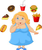 Cartoon fat women a think food Royalty Free Stock Photo