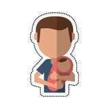 Cartoon father carrying baby newborn Stock Photography