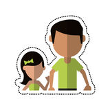 Cartoon father and daughter holding hands Royalty Free Stock Images