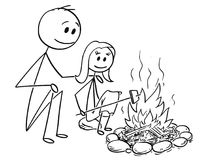 Cartoon of Father and Daughter Sitting Around Fire or Campfire. Cartoon stick man drawing conceptual illustration of father and daughter sitting around fire or Stock Images