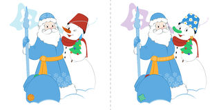 Cartoon Father Frost with Snowman and gifts. Find ten differences. Cartoon Father Frost with Snowman and presents. A small Christmas tree and a big bag of gifts Royalty Free Stock Photos