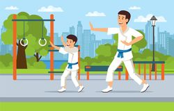 Cartoon father in kimono on playground teaches son vector illustration