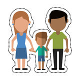 Cartoon father mother and son hing hands Royalty Free Stock Photo
