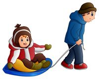 Cartoon father pulling a son on a sled Stock Photos