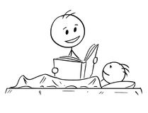 Cartoon of Father Reading Bedtime Story or Book to Son. Cartoon stick man drawing conceptual illustration of father or dad reading his son bedtime story from a Royalty Free Stock Photo