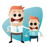 Cartoon father and son. Cartoon illustration of father and son Stock Photo