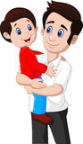 Cartoon father and son playing together Stock Photography