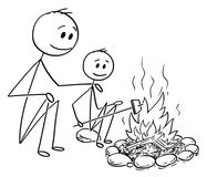 Cartoon of Father and Son Sitting Around Fire or Campfire. Cartoon stick man drawing conceptual illustration of father and son sitting around fire or campfire Royalty Free Stock Photos