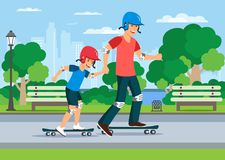 Cartoon father teaching son to ride on skate stock illustration
