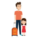 Cartoon father with travel briefcase and daugther girl Stock Image