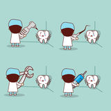 Cartoon fear tooth with dentist Stock Photo