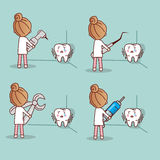 Cartoon fear tooth with dentist Royalty Free Stock Image
