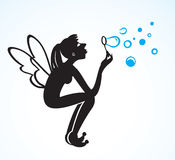 Cartoon fee blowing bubbles Stock Images