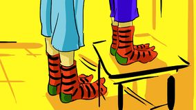 Cartoon Feet Of Two Children In Striped Socks Royalty Free Stock Photos