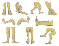 Cartoon Feet. In a variety of poses from different angles stock illustration