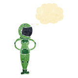 Cartoon female astronaut with thought bubble Royalty Free Stock Photography