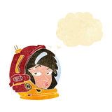 Cartoon female astronaut with thought bubble Stock Images