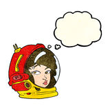 Cartoon female astronaut with thought bubble Royalty Free Stock Photo